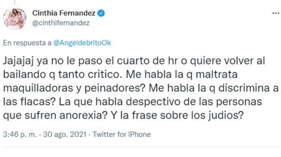 Respuesta Cinthia Fernandez contra Mar Tarres