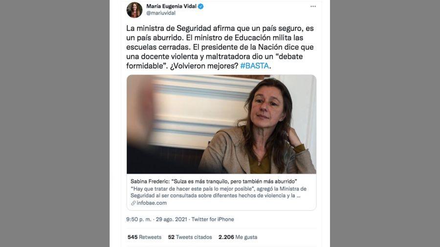 Twit María Eugenia Vidal 20210830