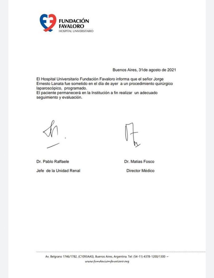 Comunicado de salud de Jorge Lanata 20210831