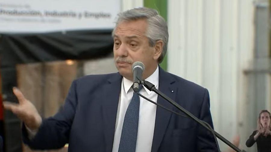 El presidente Alberto Fernández, hablando en el acto del Chaco.