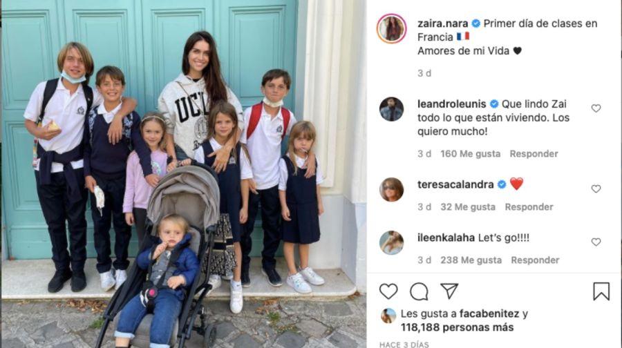 Zaira Nara compartió una tierna foto junto a sus sobrinos en su primer día de clases en Francia