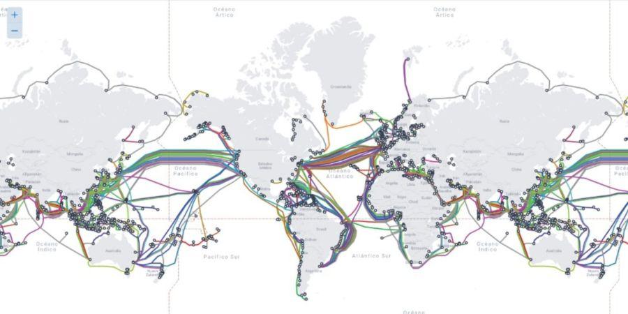 Mapa de cables submarinos en el mundo