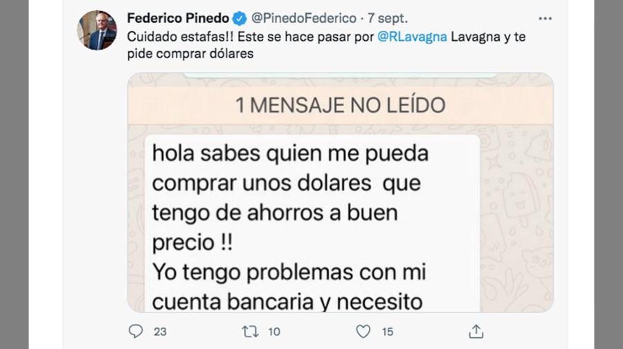 El falso mensaje que recibió Federico Pinedo