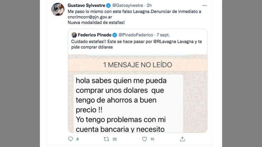 El falso mensaje que recibió Gustavo Sylvestre