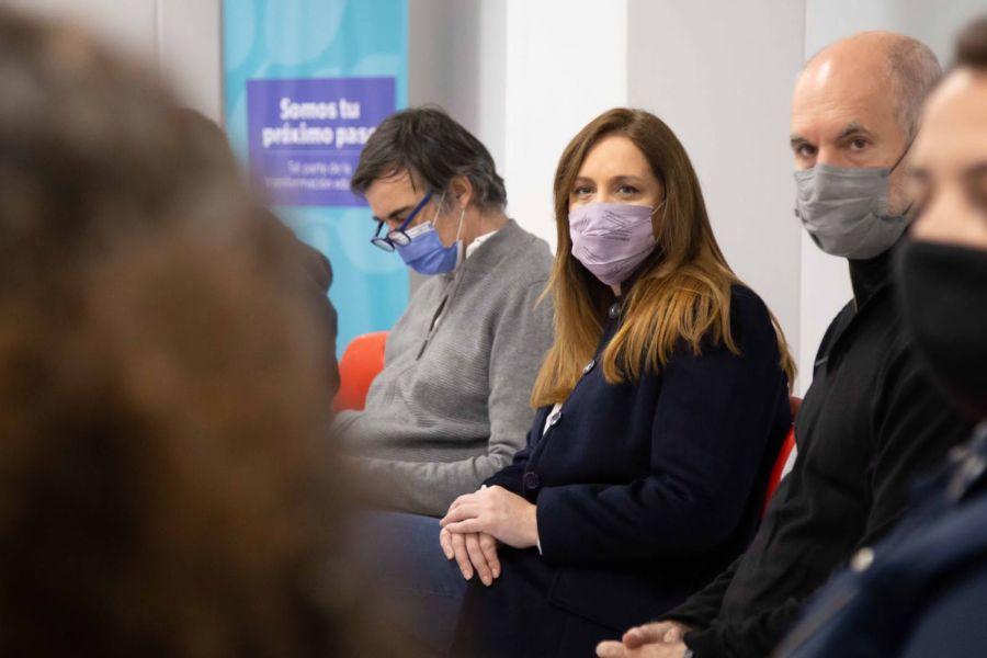 Esteban Bullrich en una recorrida con Vidal y Larreta