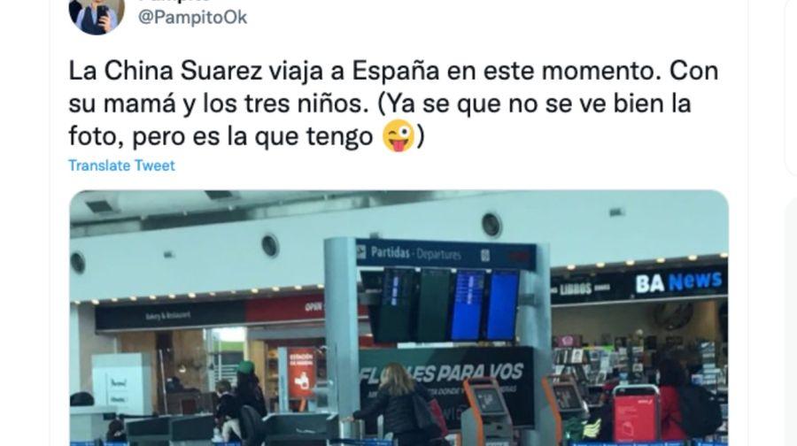 La China Suárez compartió la primera foto con sus hijos en España