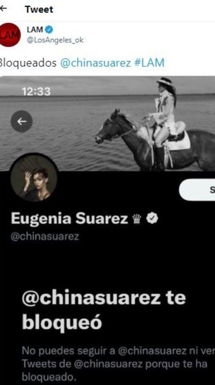 Tras los dichos de Pampita en LAM, la China Suárez bloqueó en Twitter a la cuenta del programa