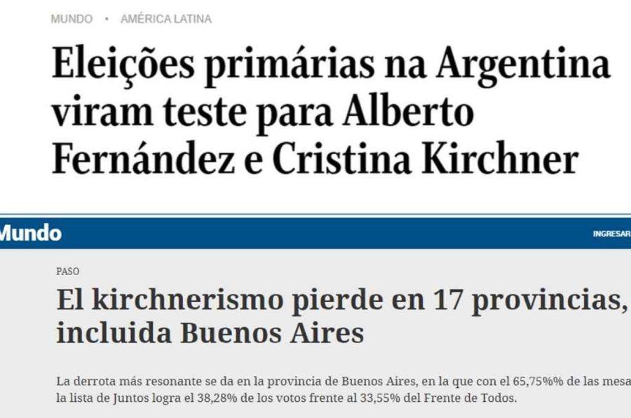titulares del mundo comentando las elecciones de Argentina 20210913