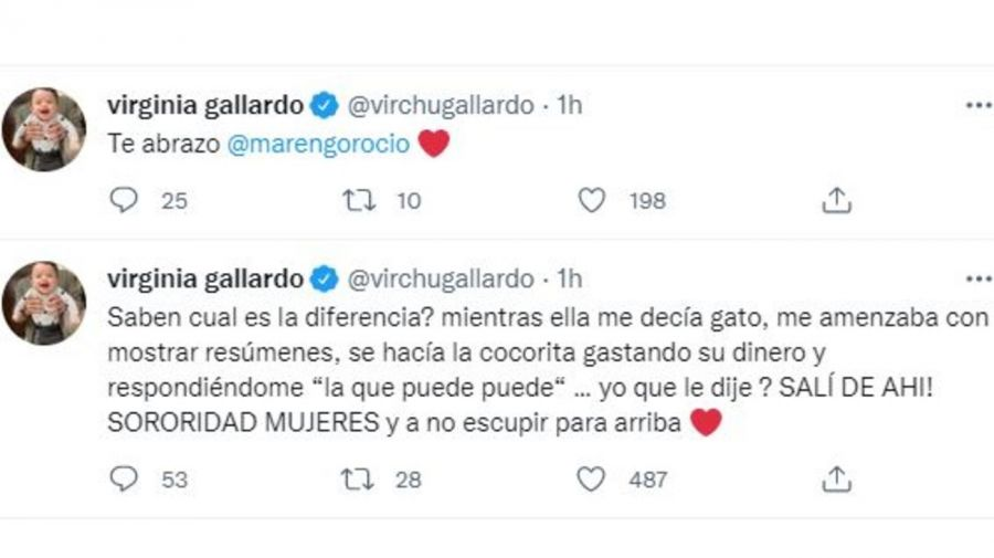 Mensaje Virginia Gallardo a Rocio Marengo por Eduardo Fort
