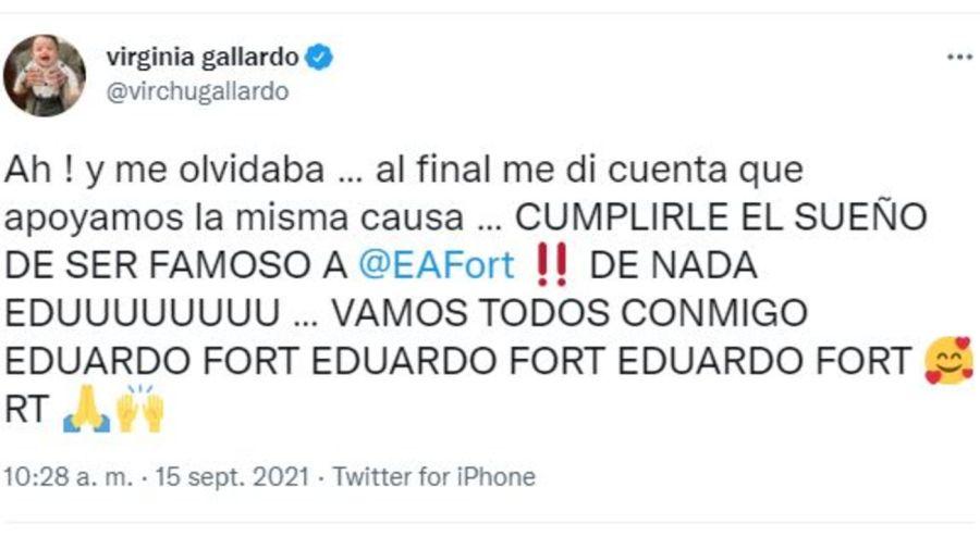 Mensaje Virginia Gallardo contra Eduardo Fort por Rocio Marengo
