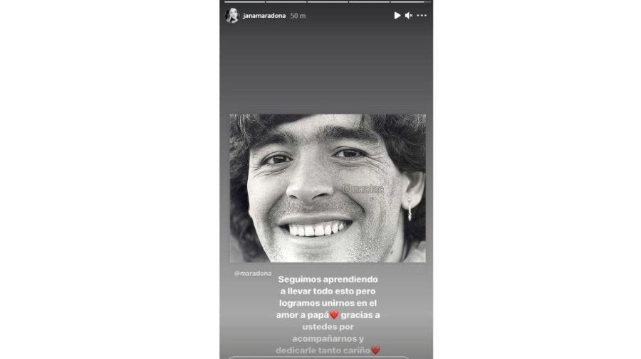 Mensaje Jana Maradona reactivacion cuenta Instagram Diego Maradona