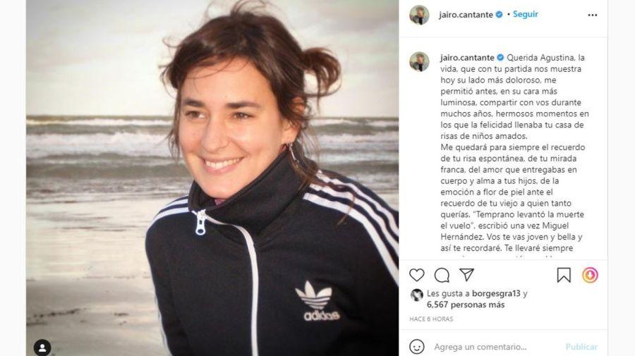 Mensaje Jairo por la muerte de Agustina Posse
