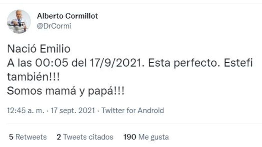 Nacio el hijo de Alberto Cormillot Emilio