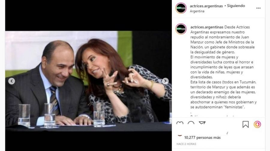 Actrices Argentinas contra Alberto y Cristina por Manzur