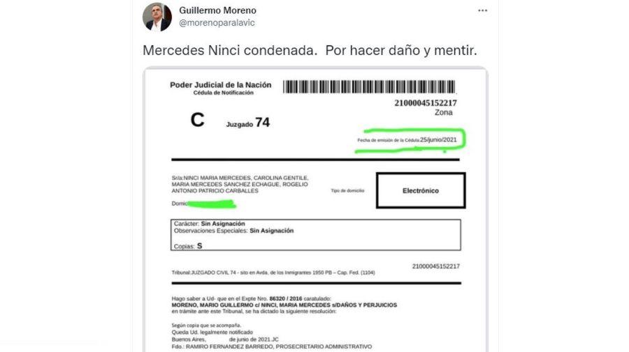 Guillermo Moreno le gano demanda a Mercedes Ninci