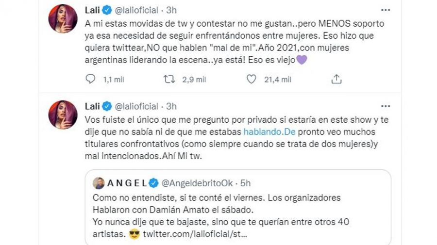 Lali Esposito mensaje Angel de Brito y Tini Stoessel