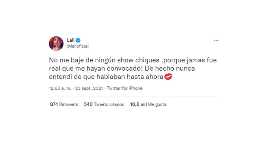 tweet lali y angel 0923