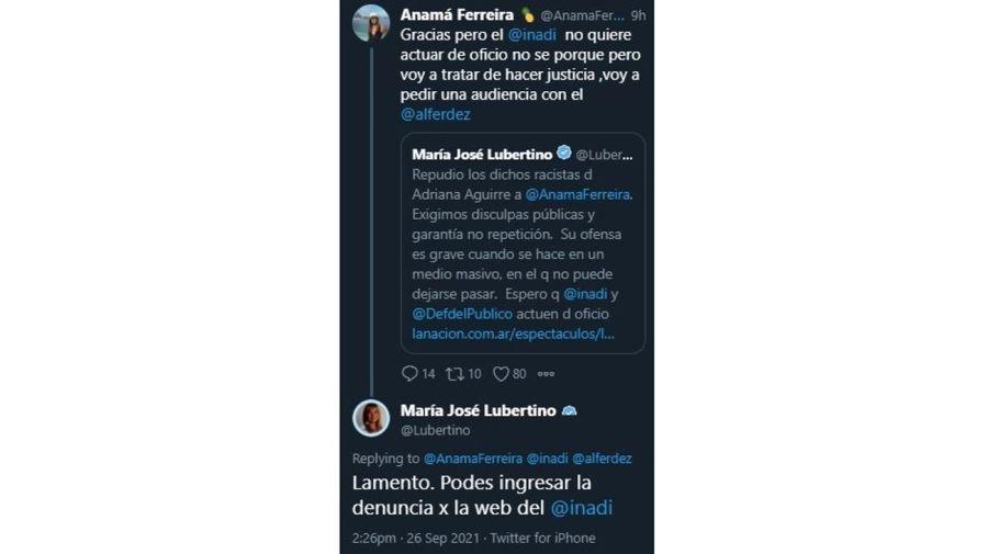 Anama Ferreira mensaje Maria Jose Lubertino