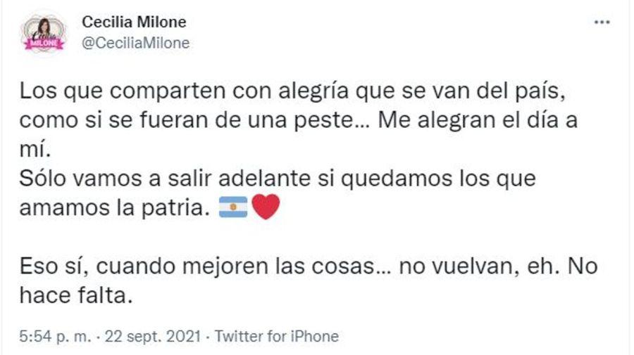 Cecilia Milone contra quienes se van del pais