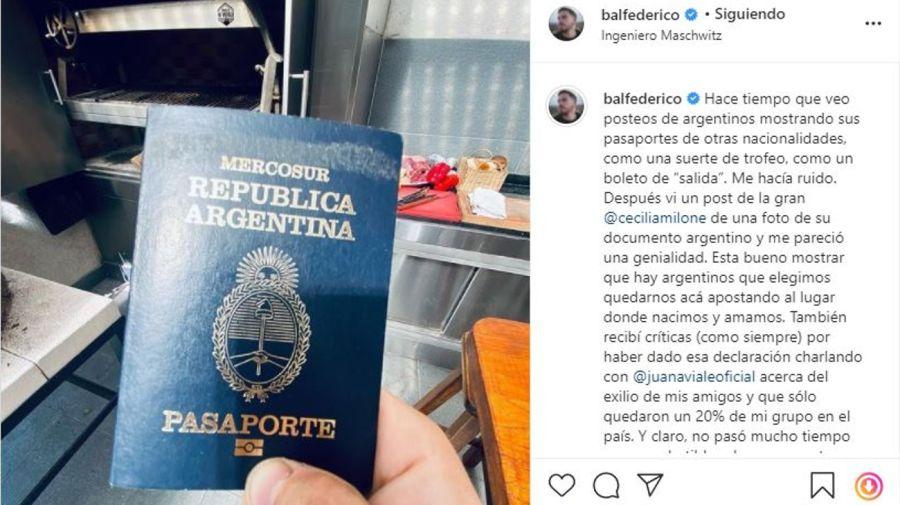 Federico Bal pasaporte mensaje