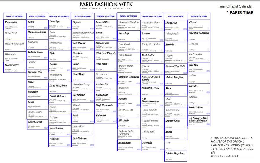 PFW: Calendario oficial de la Semana de la Moda de París: Septiembre 27 al 5 de octubre del 2021