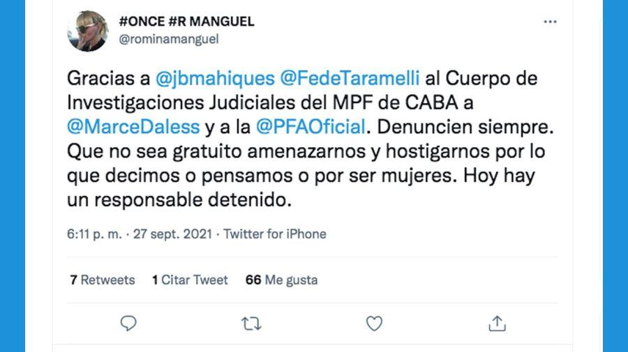 Twit de Romina Manguel 20210928