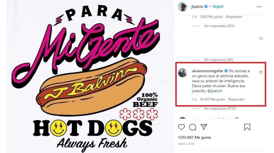 Mensaje J Balvin hot dog