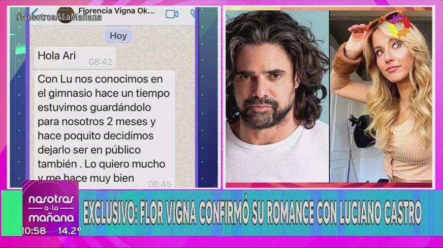 Flor Vigna confirmo romance con Luciano Castro
