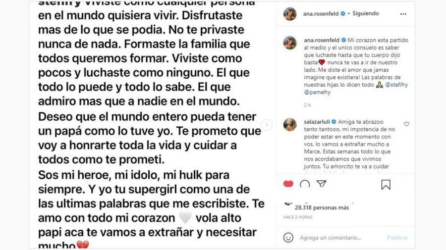 Mensaje Ana Rosenfeld muerte de su marido