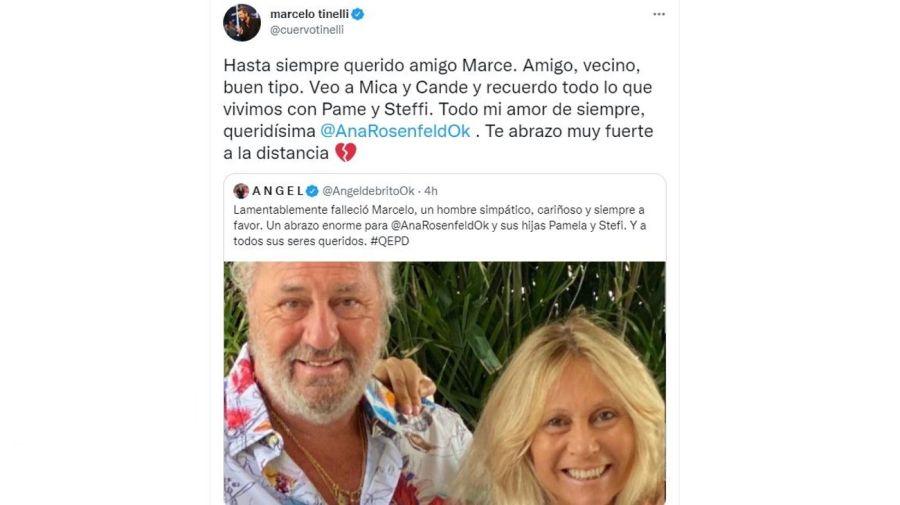 mensaje Marcelo Tinelli muerte del marido de Ana Rosenfeld