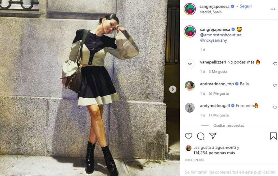 El look de la China Suárez para salir con amigos en Madrid