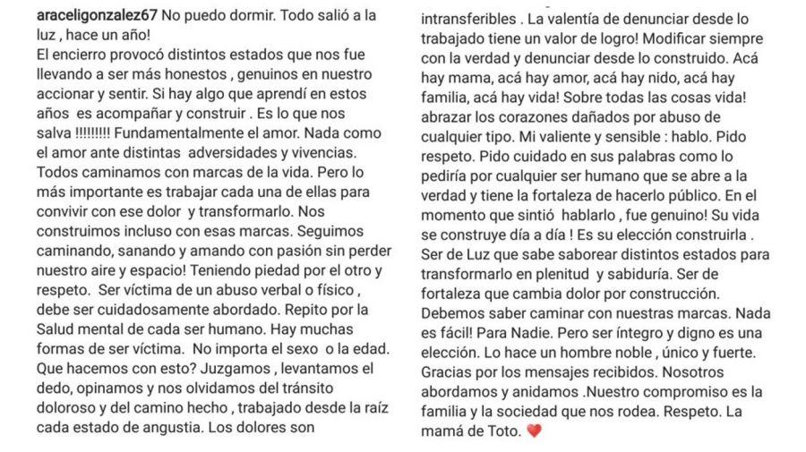 Mensaje Araceli Gonzalez a Toto Kirzner