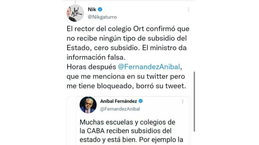 "Nik denunciará a Aníbal Fernández tras recibir una ""amenaza velada"" | Perfil"