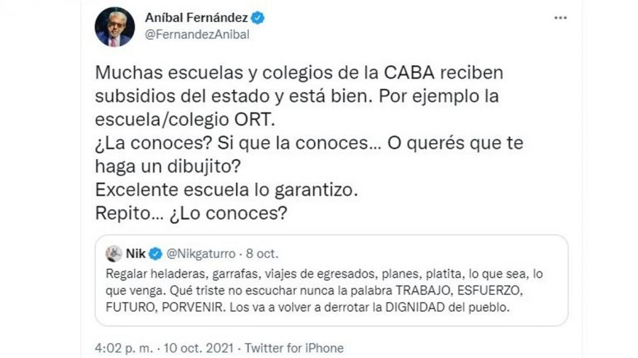 Respuesta Anibal Fernandez a Nik