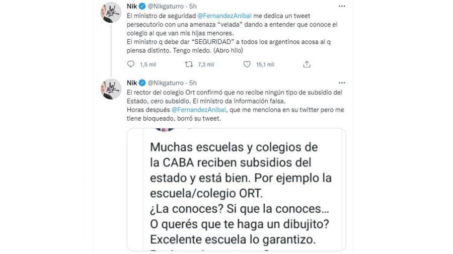 Respuesta Nik a Aníbal Fernandez