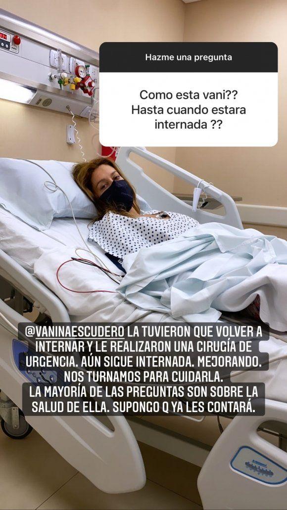 Vanina Escudero fue operada de urgencia: