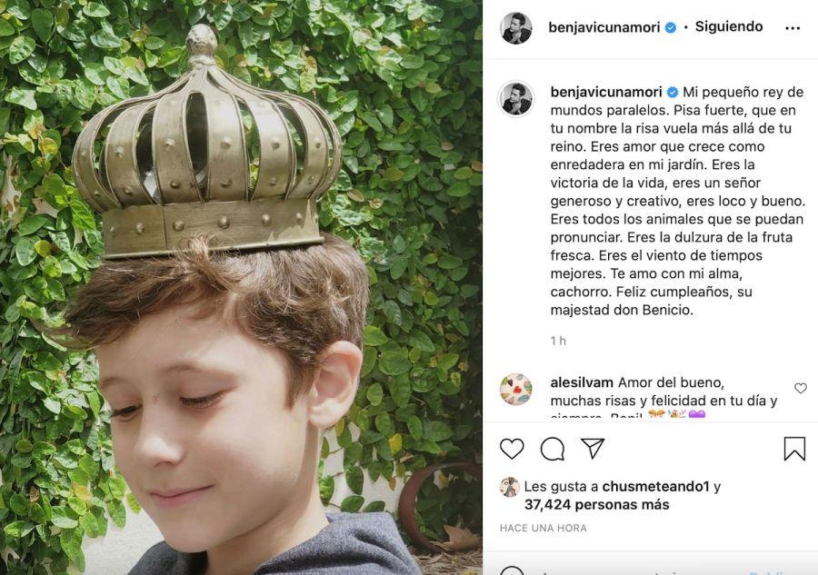 Benjamín Vicuña homenajeó a Benicio en el día de su cumpleaños: