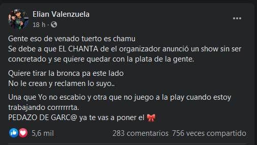 L-Gante le respondió al productor que lo acusó de hacer pedidos excesivos para tocar