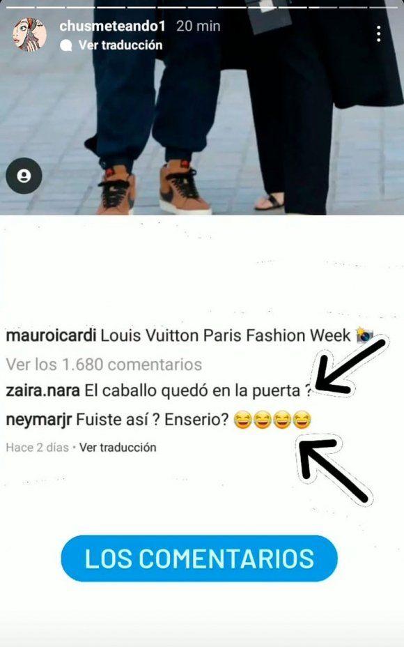 Zaira Nara y Neymar se burlaron de Mauro Icardi por su look gauchesco en la Semana de la Moda de París