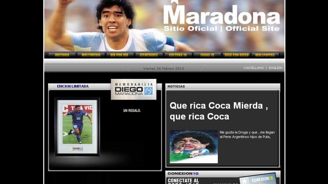 Así se ve el sitio de Diego Maradona (Click para agrandar)