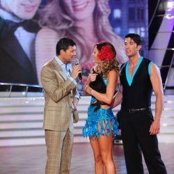 Paula Chaves con Tinelli y Alejandro Gallego