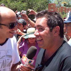 Pablo Layús con Diego Pérez, presente en la prueba / Cadena 3