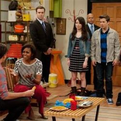 Michelle Obama con el elenco de iCarly