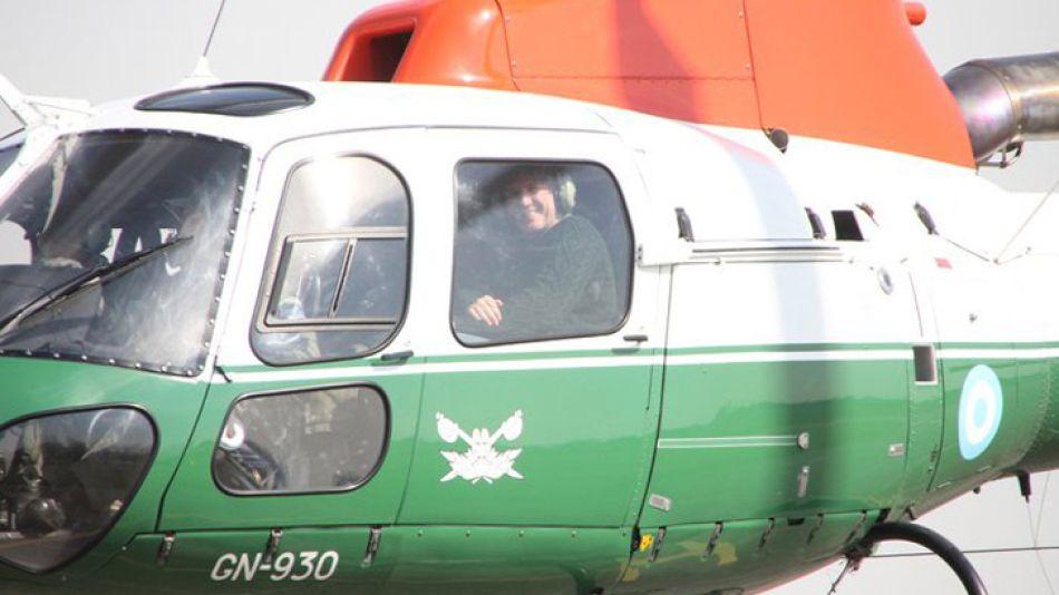 Boudou llegó para cerrar el acto en Morón a bordo del helicóptero de Gendarmería.