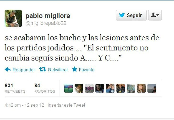 El sugerente tweet publicado por Migliore. /Captura de pantalla
