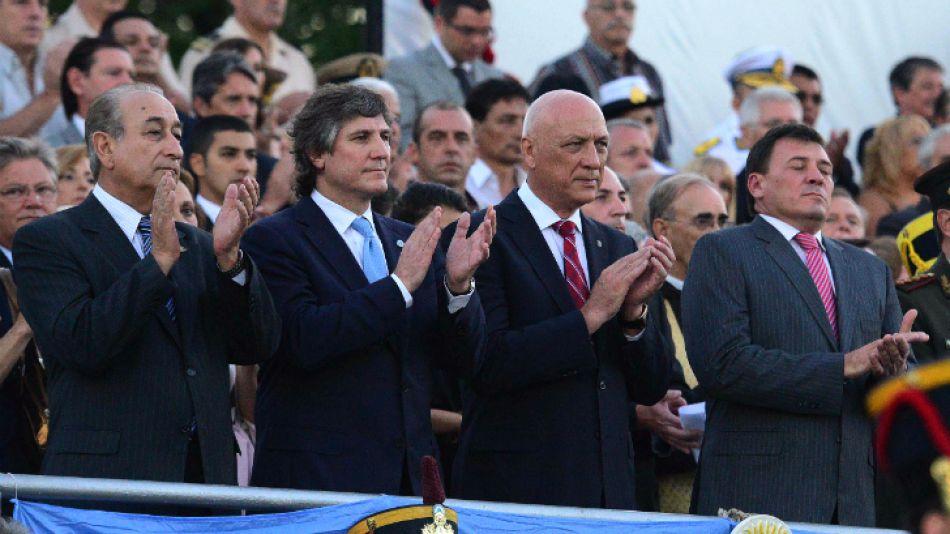 Boudou, junto a Bonfatti y Raimundo (derecha), en el acto por el Bicentenerio de la Batalla de San Lorenzo.