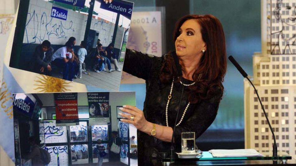 La presidenta mostró fotografías de los hechos vandálicos en las estaciones del Sarmiento.