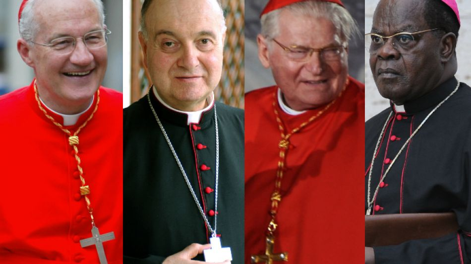 Cuatro firmes candidatos (izq a der): Marc Ouellet, Leonardo Sandri, Angelo Scola, Laurent Monsengwo Pasinya.