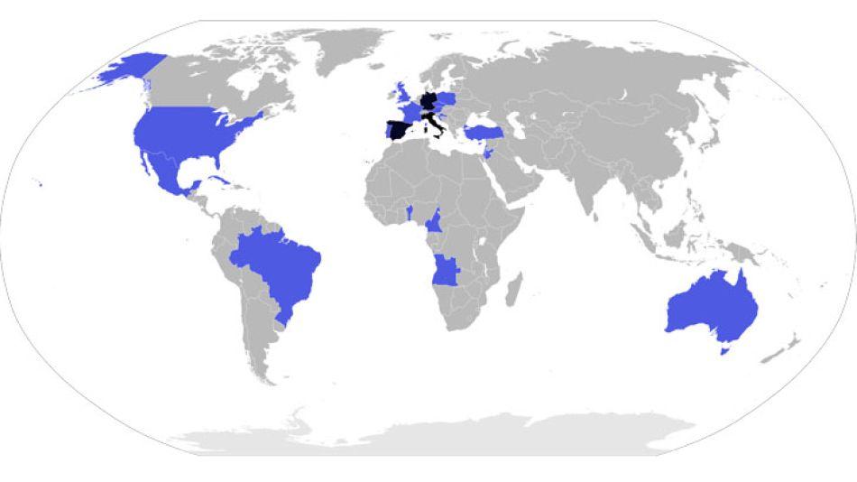 Los países que visitó Benedicto XVI durante su pontificado.