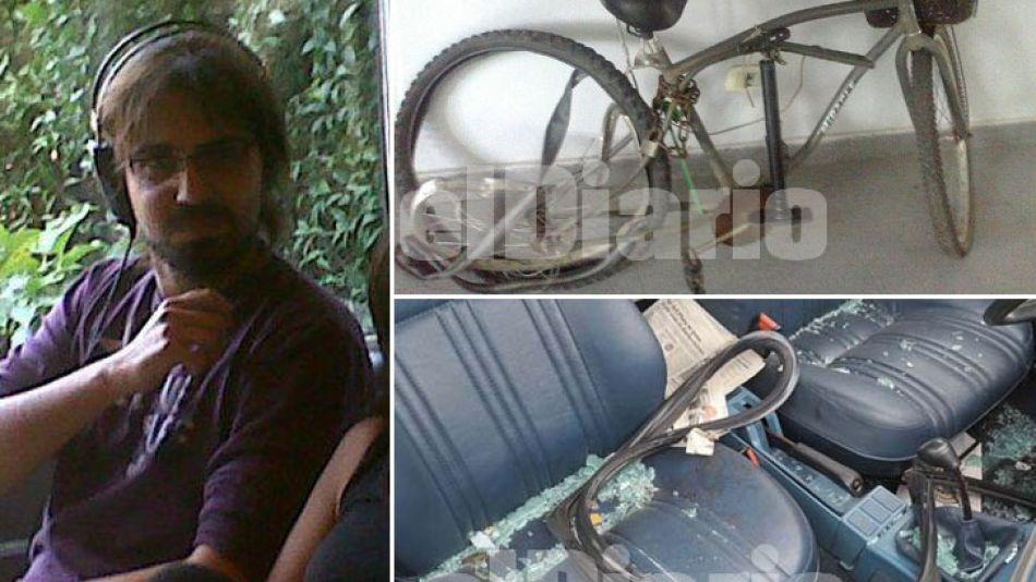 Pablo García, el conductor implicado en la muerte de Reinaldo Rodas. La bicicleta usada (arriba, derecha), y el auto de García (abajo, derecha).